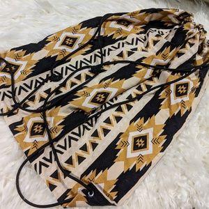 Handbags - Handmade Drawstring Bag (Gold/Black Aztec Design)
